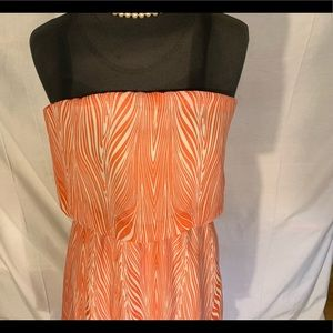 Poetry Dresses - Poetry high/low mini strapless sundress in coral.